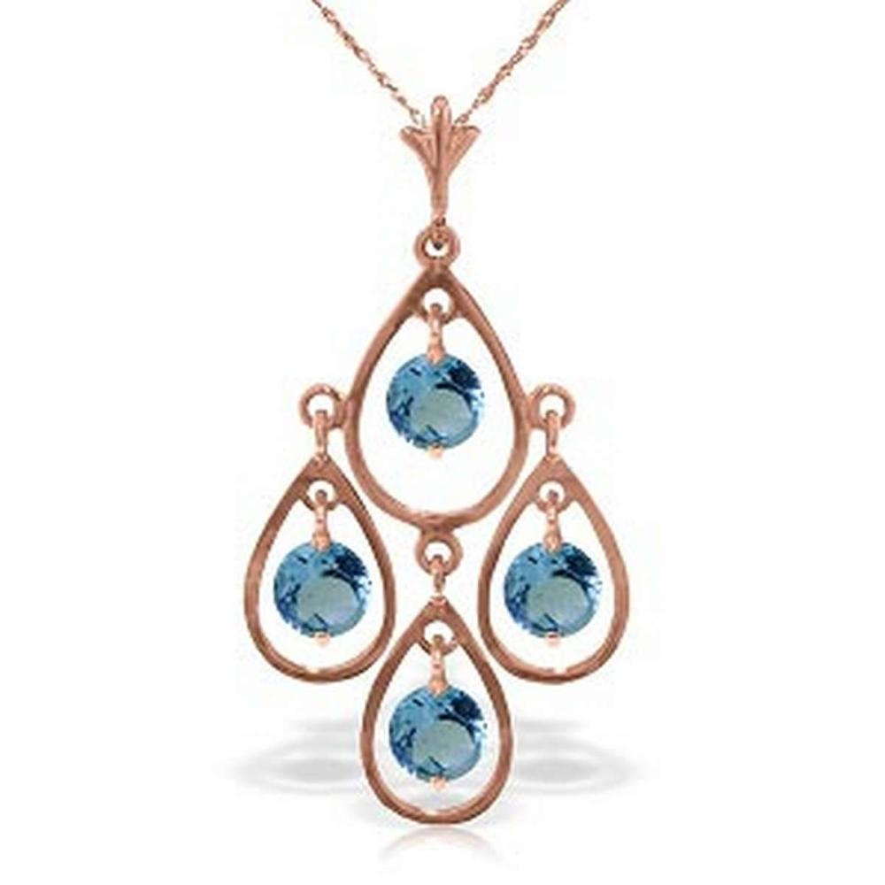 14K Solid Rose Gold Necklace with Natural Blue Topaz #1AC92685