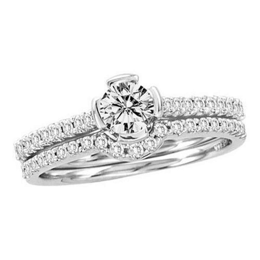 14KT White Gold 0.77CTW DIAMOND BRIDAL RING WITH 0.40CT ROUND CENTER #1AC55977