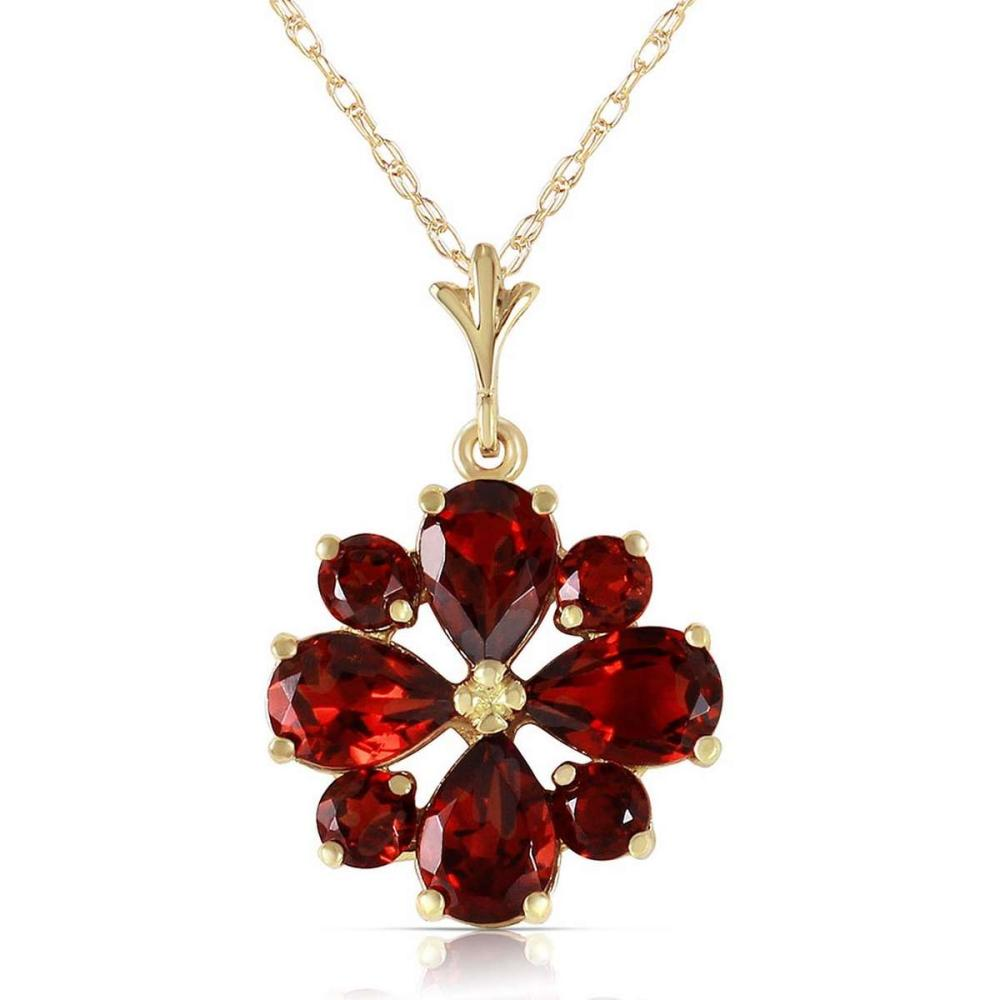 2.43 Carat 14K Solid Gold Balladeer Garnet Necklace #1AC92600