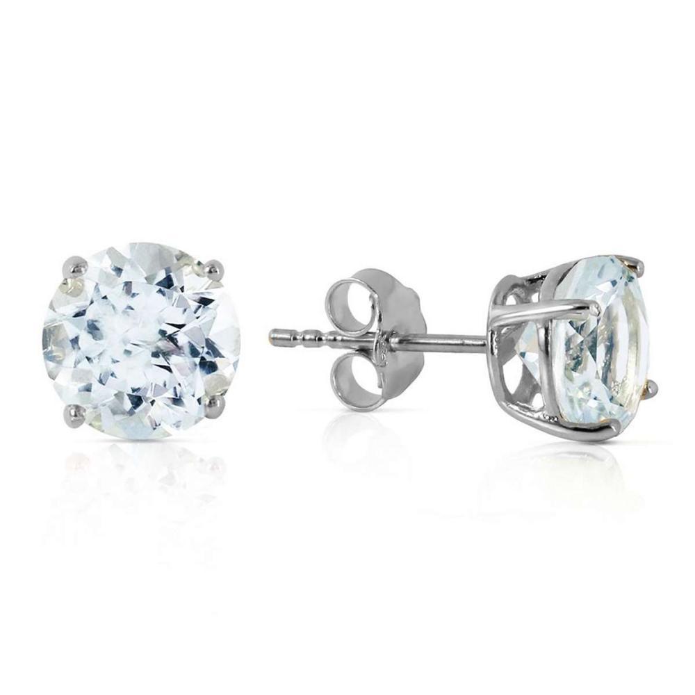 3.1 Carat 14K Solid White Gold Love We Share Aquamarine Earrings #1AC92431