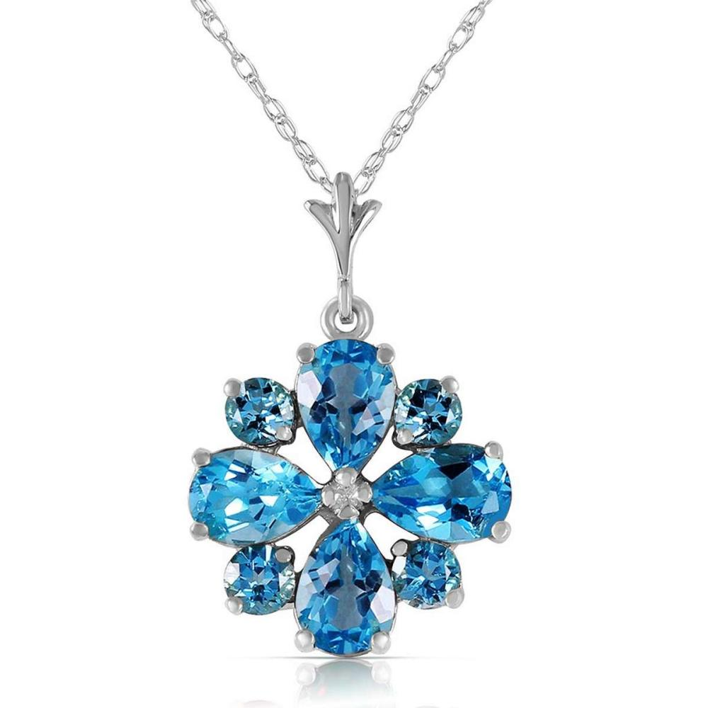 2.43 CTW 14K Solid White Gold Dont Haste Blue Topaz Necklace #1AC92623