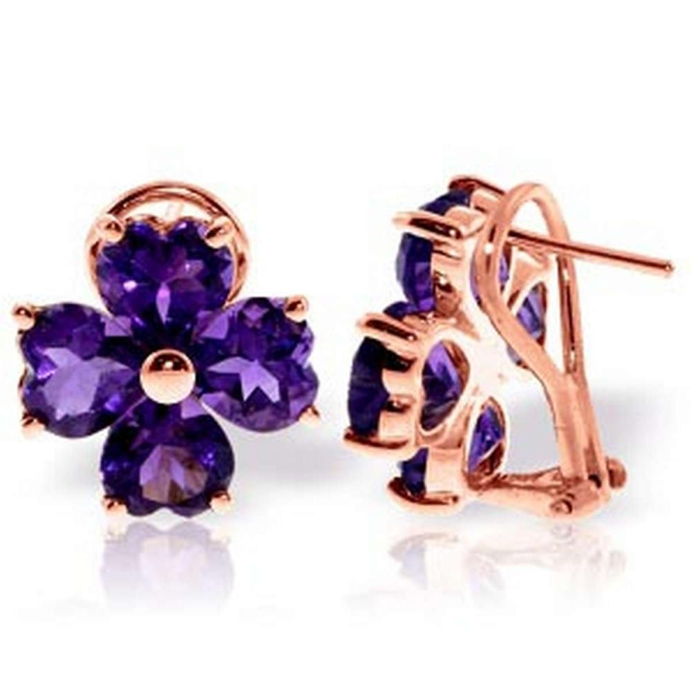 6.5 Carat 14K Solid Rose Gold Heart Cluster Amethyst Earrings #1AC92640