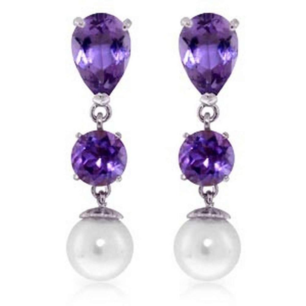 10.5 CTW 14K Solid White Gold Chandelier Earrings Amethyst pearl #1AC92440