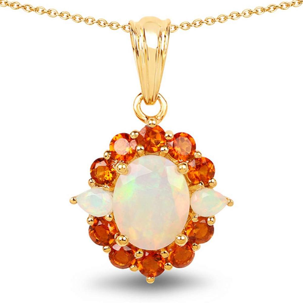 14K Yellow Gold Plated 2.78 CTW Genuine Ethiopian Opal & Madeira Citrine .925 Sterling Silver Pendant #1AC28342