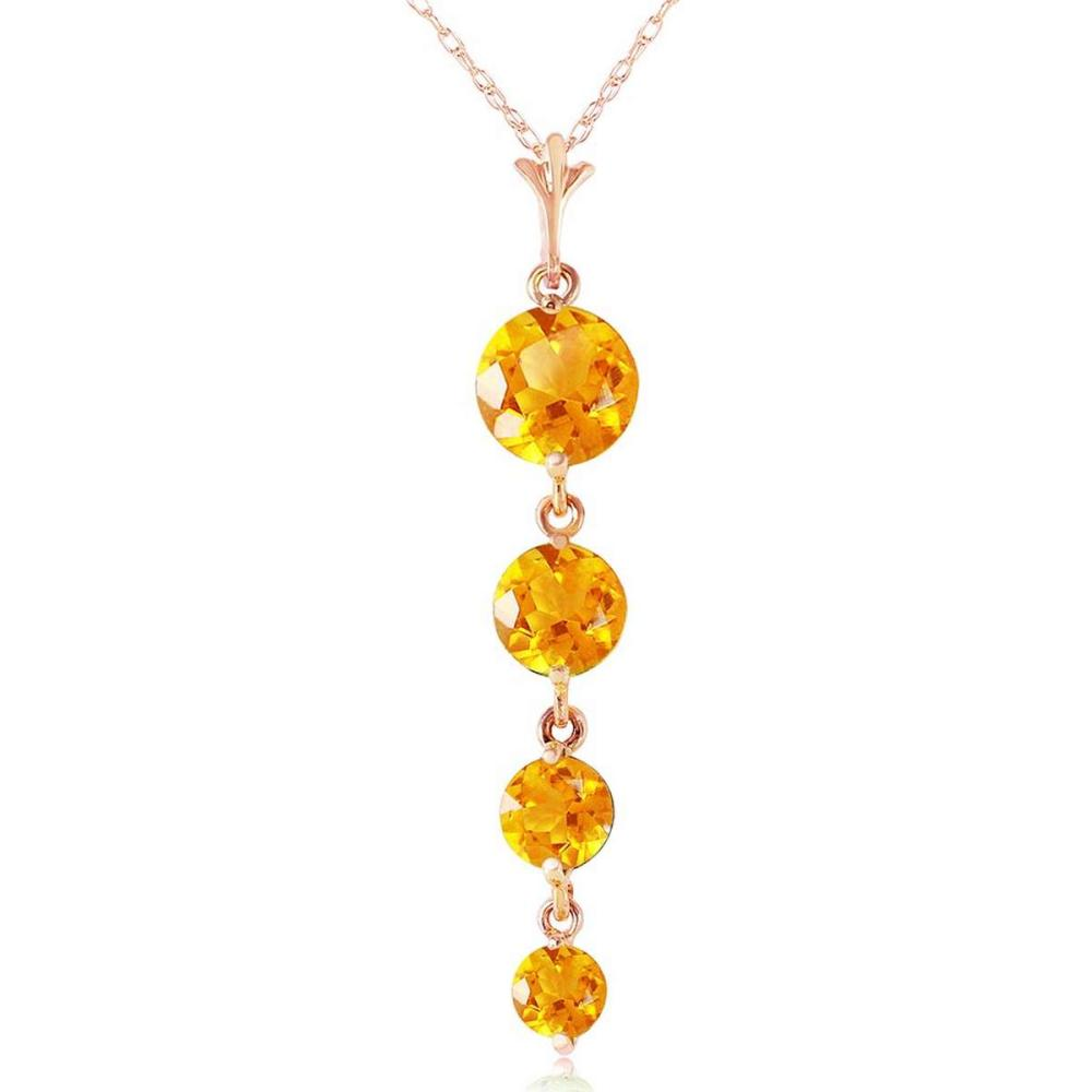 14K Solid Rose Gold Necklace with Natural Citrines #1AC92349