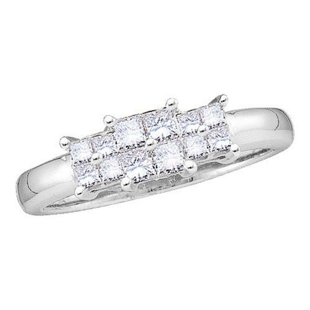 14KT White Gold 0.50CTW DIAMOND LADIES RING WITH 4STONE PRINCESS-CUT CENTER #1AC53477