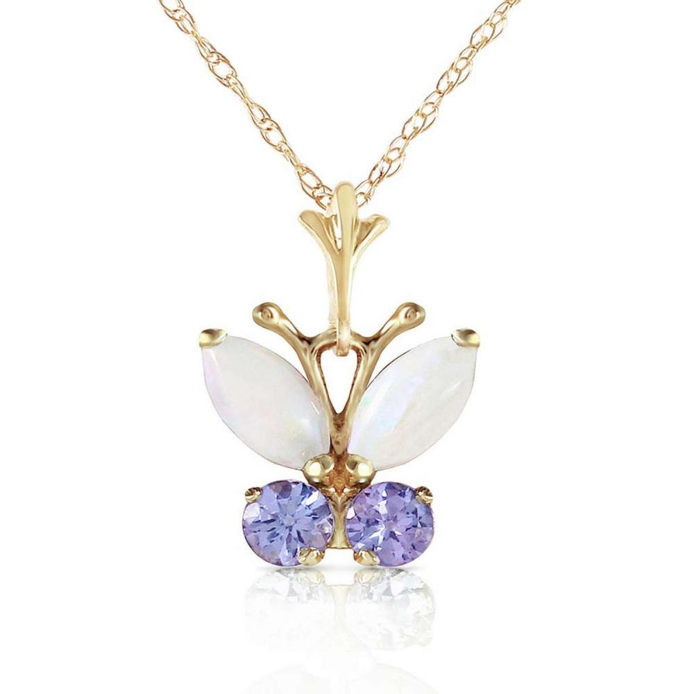 0.7 CTW 14K Solid Gold Butterfly Necklace Opal Tanzanite #1AC92684