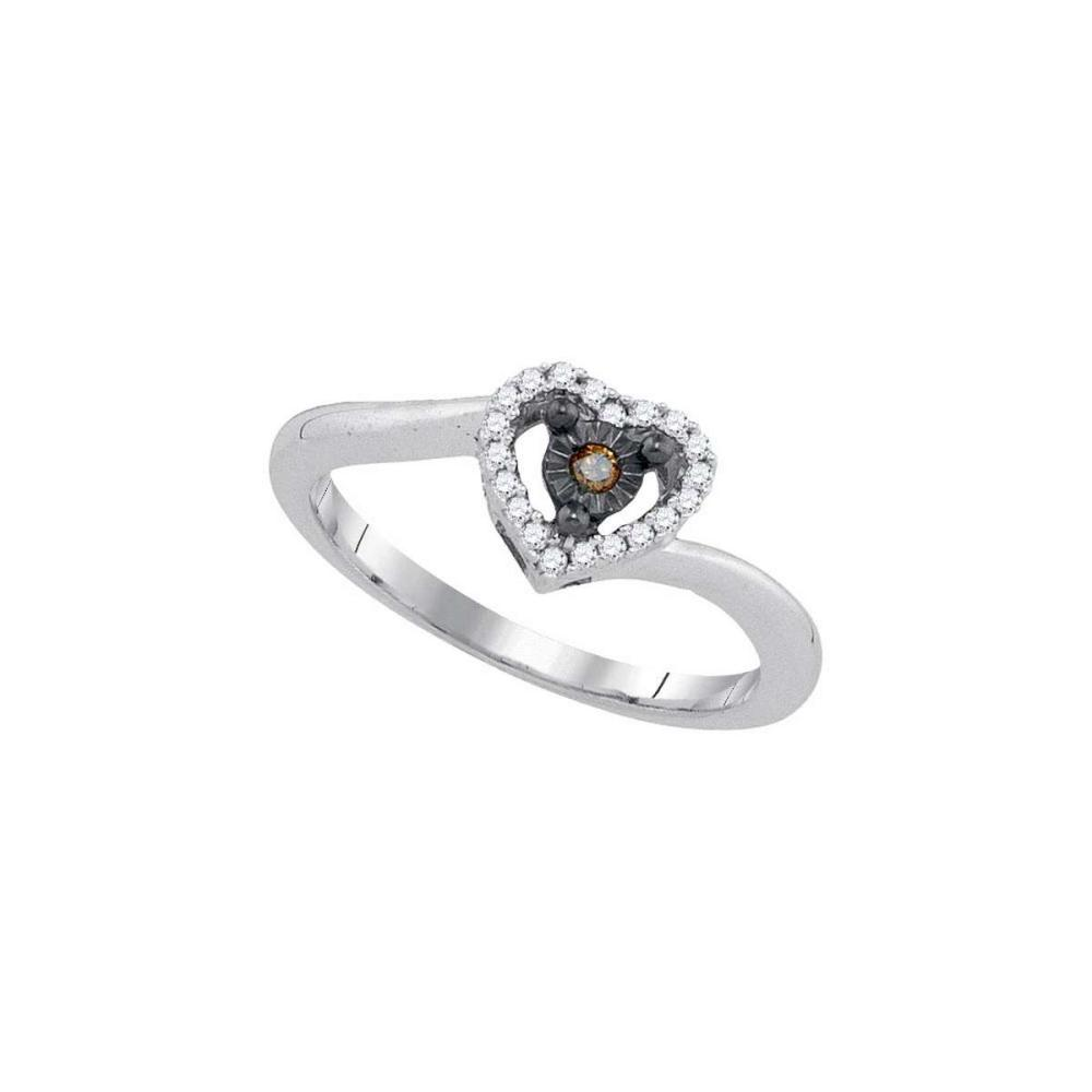 Sterling Silver Womens Round Cognac-brown Colored Diamond Heart Ring 1/10 Cttw #1AC44173