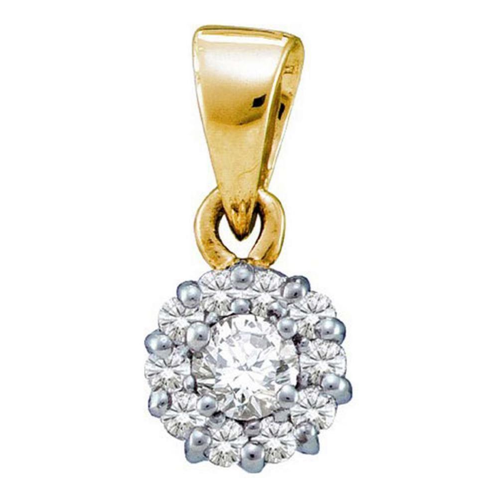 14KT Yellow Gold 0.25CTW DIAMOND FLOWER PENDANT #1AC52215