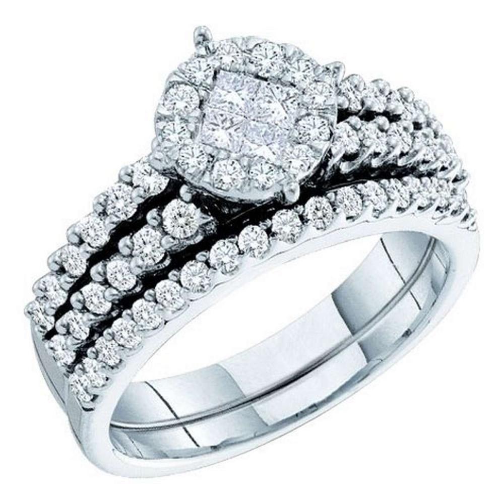 14K White-gold 1.00CT DIAMOND SOLIEL BRIDAL SET #1AC56540