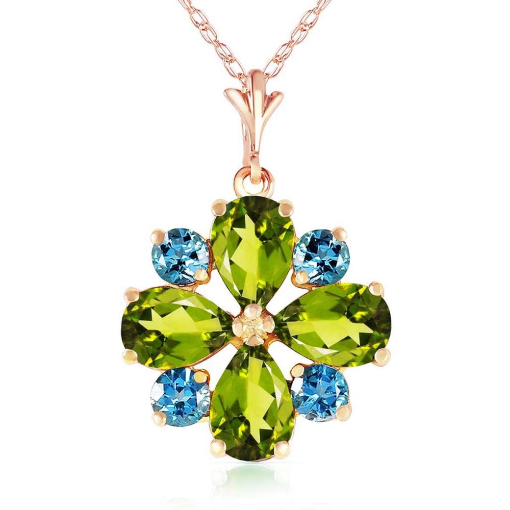 2.43 CTW 14K Solid Rose Gold Necklace Peridot Blue Topaz #1AC92538