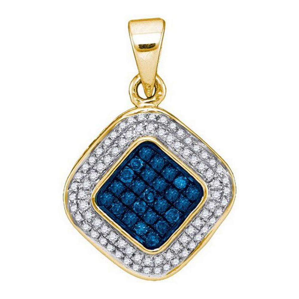 14K Yellow-gold 0.25CTW BLUE DIAMOND MICRO-PAVE PENDANT #1AC54250