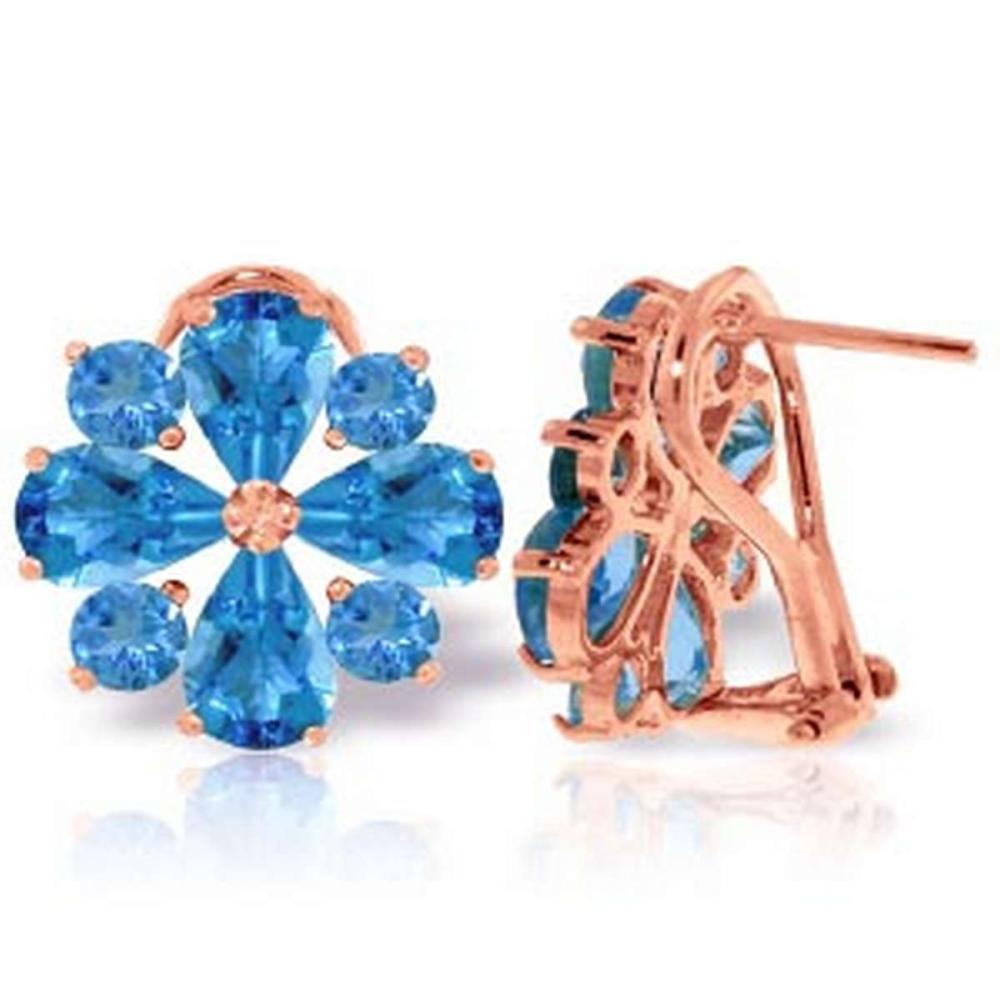 4.85 CTW 14K Solid Rose Gold Flower Blue Topaz Clip Earrings #1AC92619