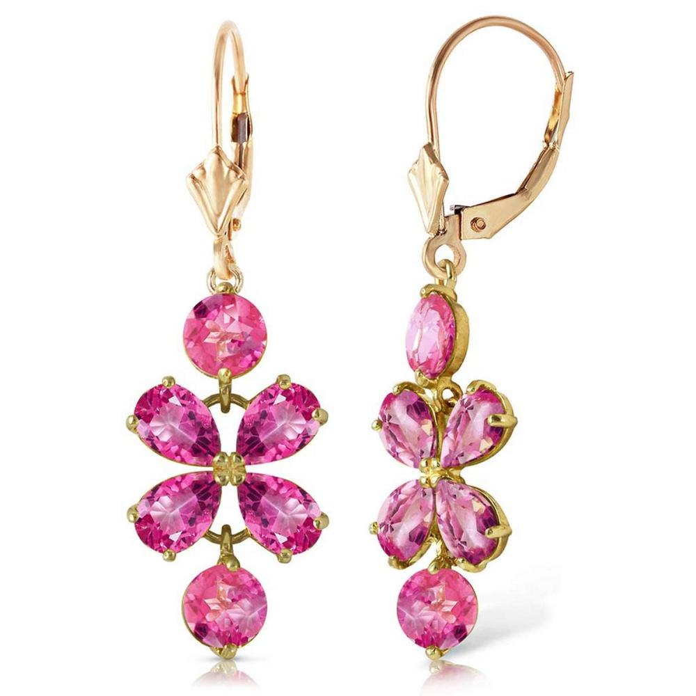 5.32 Carat 14K Solid Gold Petals Pink Topaz Earrings #1AC92354