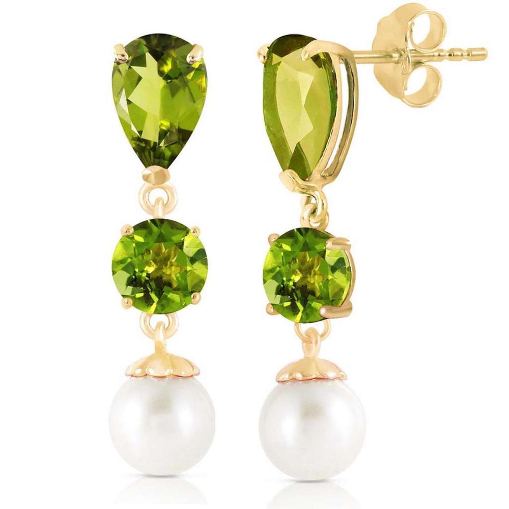 10.5 CTW 14K Solid Gold Chandelier Earrings Peridot pearl #1AC92444
