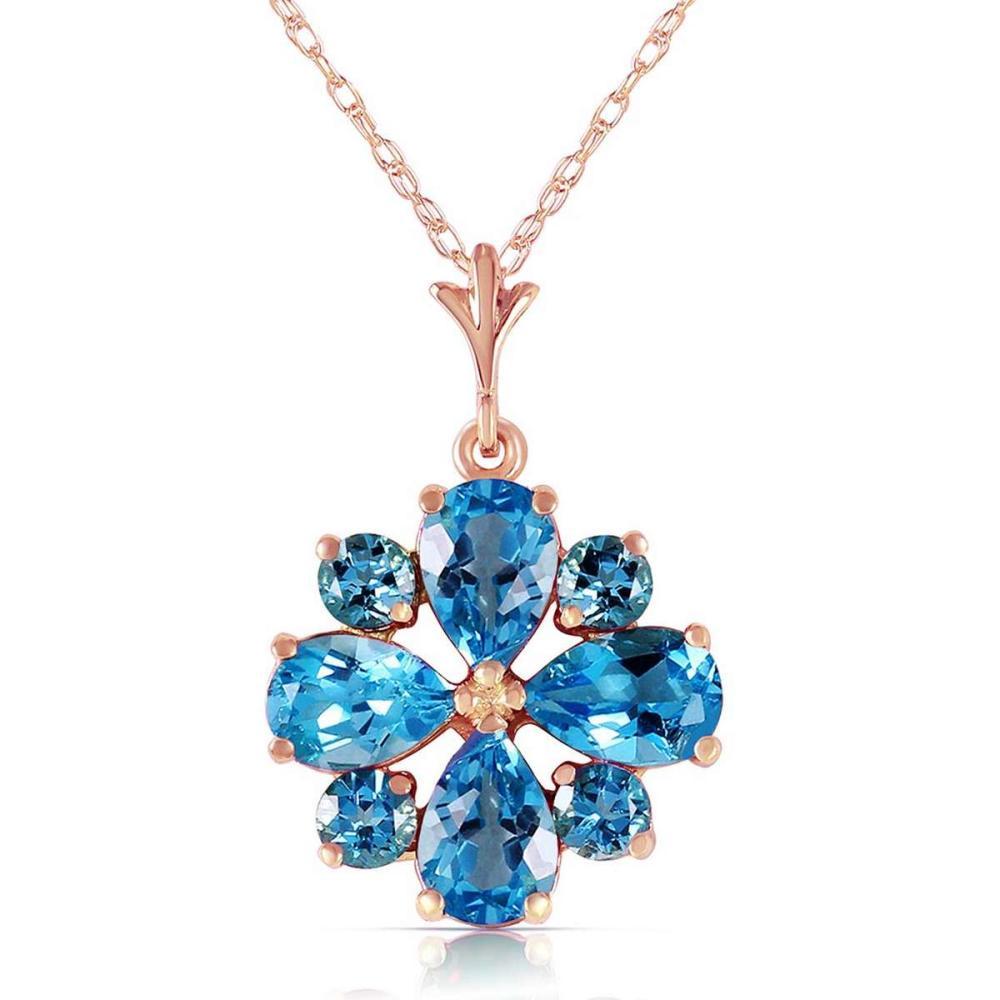 2.43 Carat 14K Solid Rose Gold Spring Blue Topaz Necklace #1AC92622