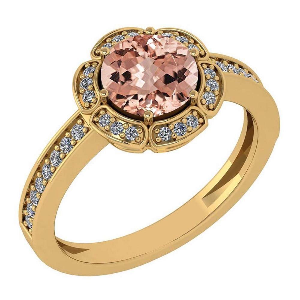 Certified 1.47 Ctw Morganite And Diamond VS/SI1 Engagement Halo Ring 14K Yellow Gold Made In USA #1AC22515