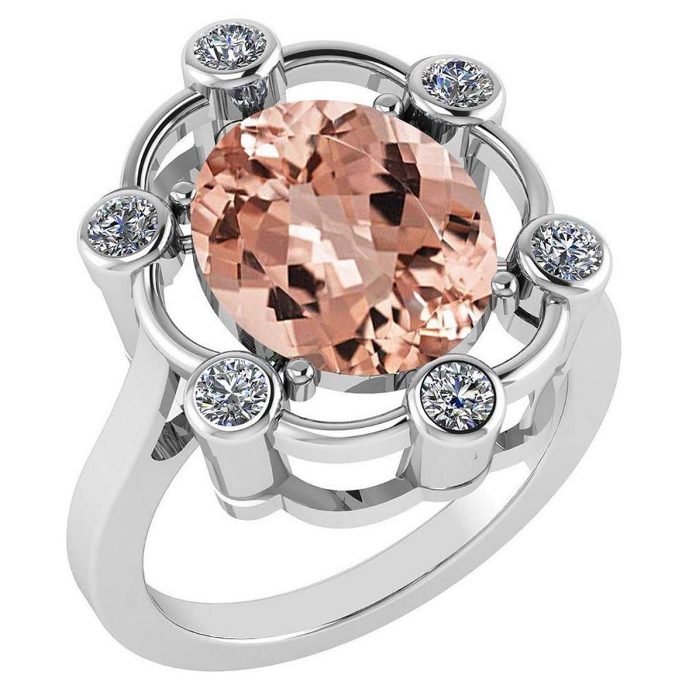 Certified 5.83 Ctw Morganite And Diamond VS/SI1 Halo Ring 14K White Gold Made In USA #1AC21989