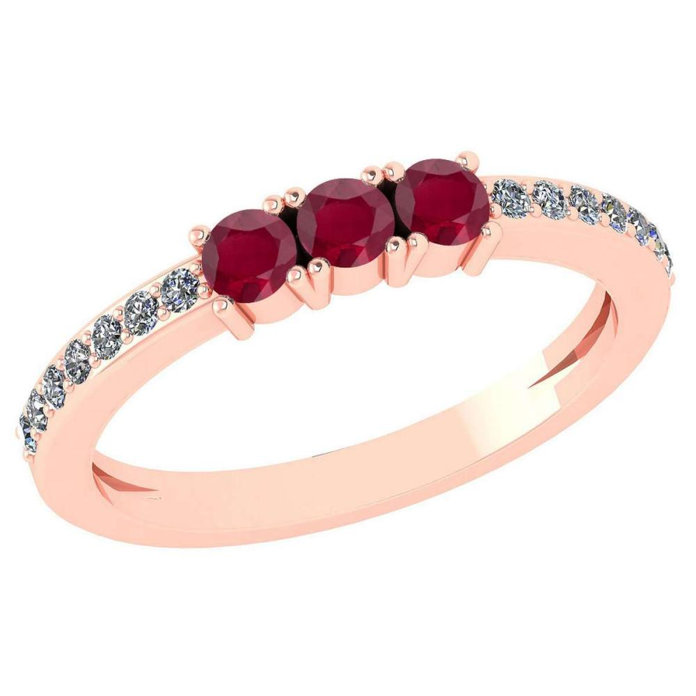 Certified 0.23 Ctw Ruby And Diamond 18k Rose Gold Halo Ring #1AC15150