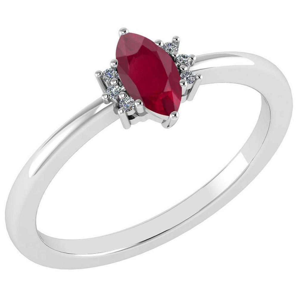 Certified 0.68 Ctw Ruby And Diamond VS/SI1 Ring 14K White Gold Made In USA #1AC23272
