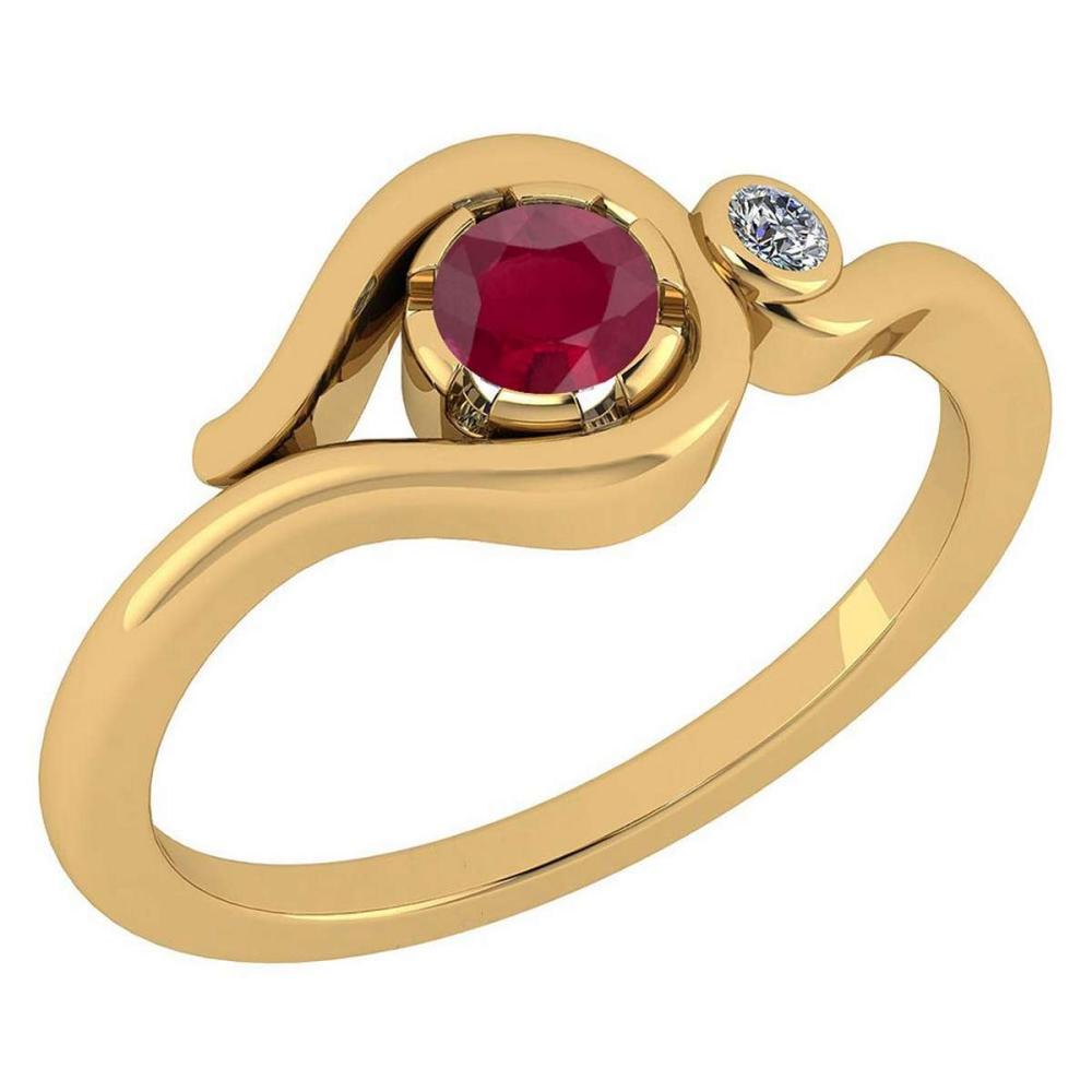 Certified 0.28 Ctw Ruby And Diamond VS/SI1 14K Yellow Gold Solitaire Ring #1AC20219