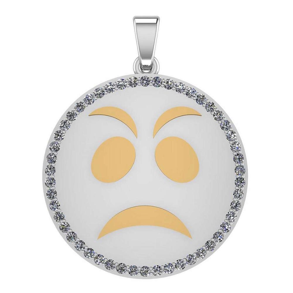 Certified 0.95 Ctw Diamond Smiley 18K White Gold Pendant #1AC23557