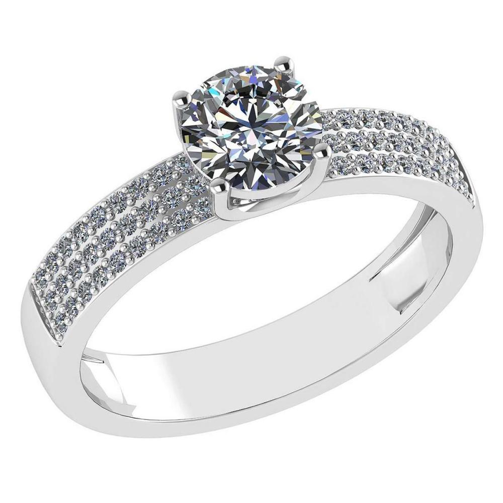 Certified 0.97 Ctw Diamond 14k White Gold Ring (VS/SI1) #1AC17844