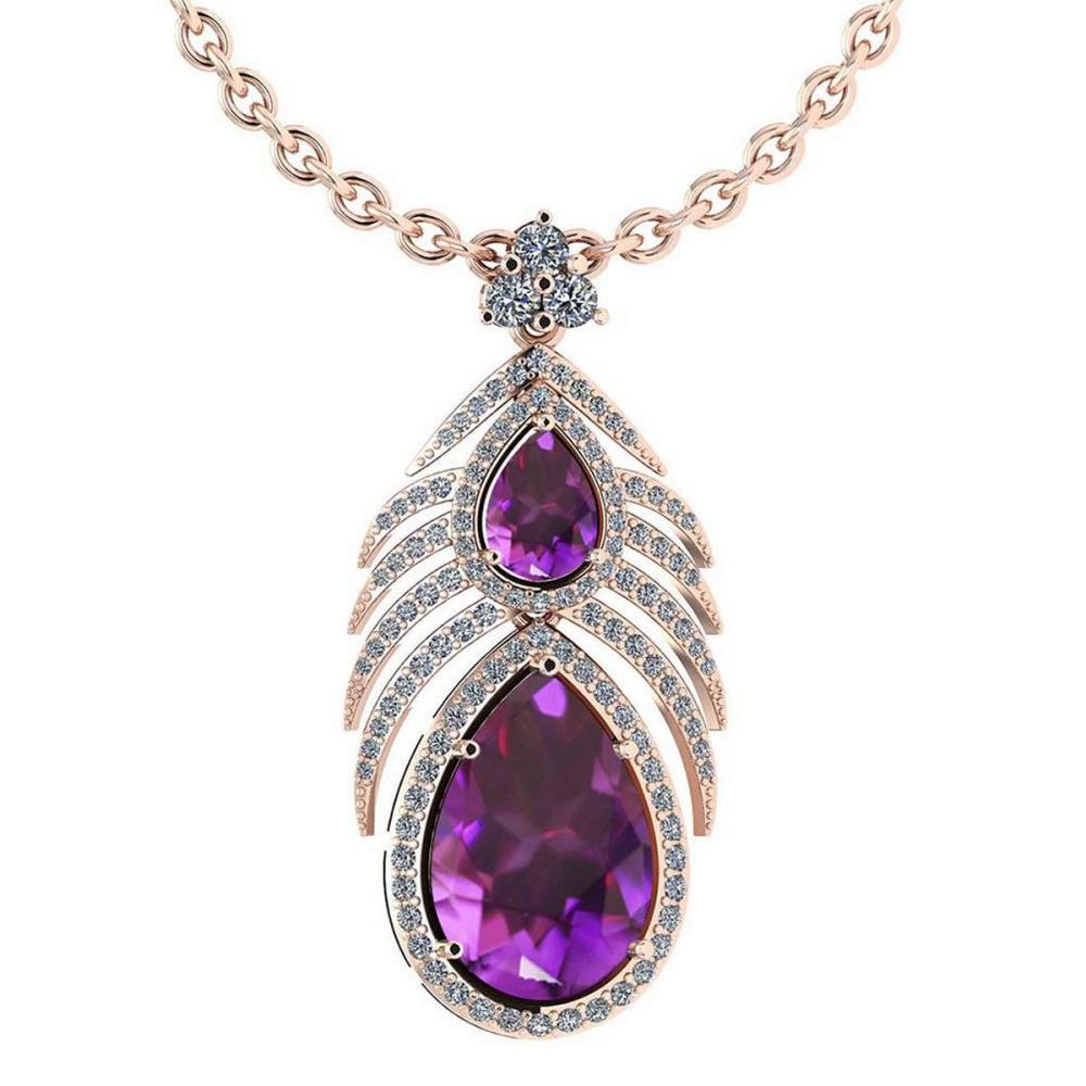 Certified 7.50 Ctw Amethyst And Diamond Pear shape Necklace For womens 14K Rose Gold (VS/SI1) #1AC18234
