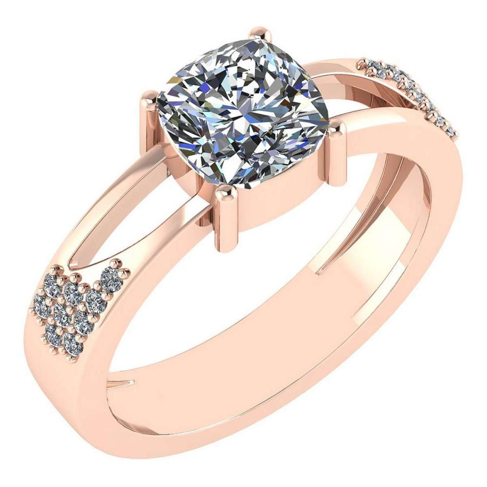 Certified 1.18 Ctw Diamond Wedding/Engagement Style 14K Rose Gold Halo Ring (SI2/I1) #1AC17908