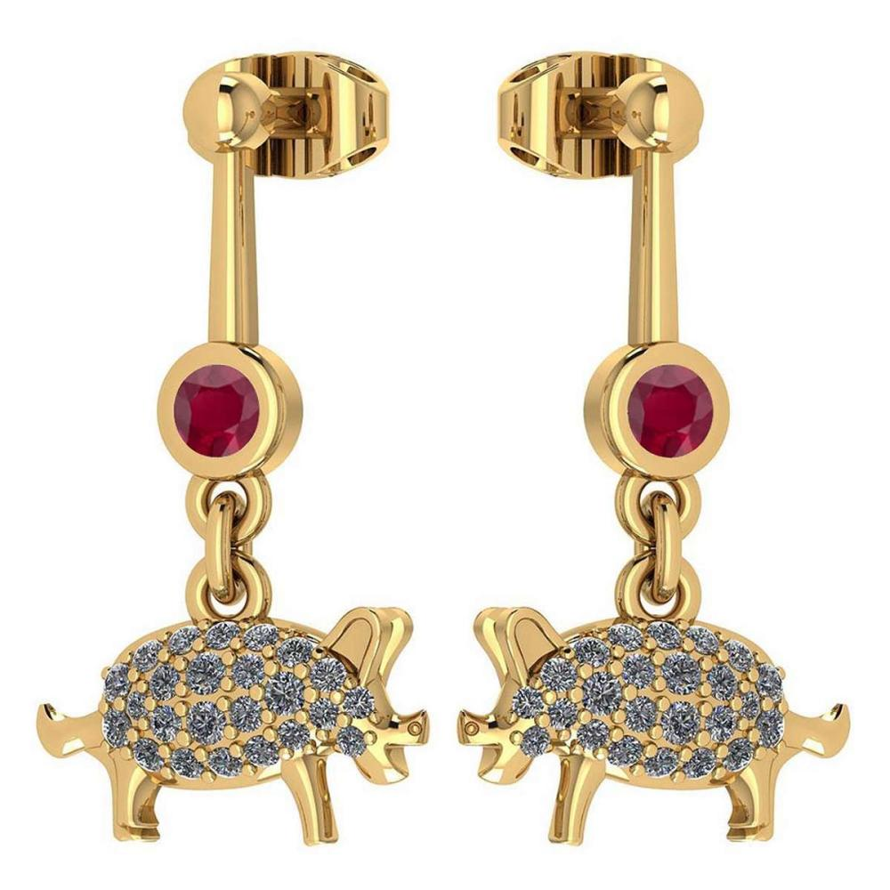 Certified 0.37 Ctw Ruby And Diamond VS/SI1 Chinese Century Year Of PIG 2019 Style Earrings 14k Yellow Gold #1AC20202