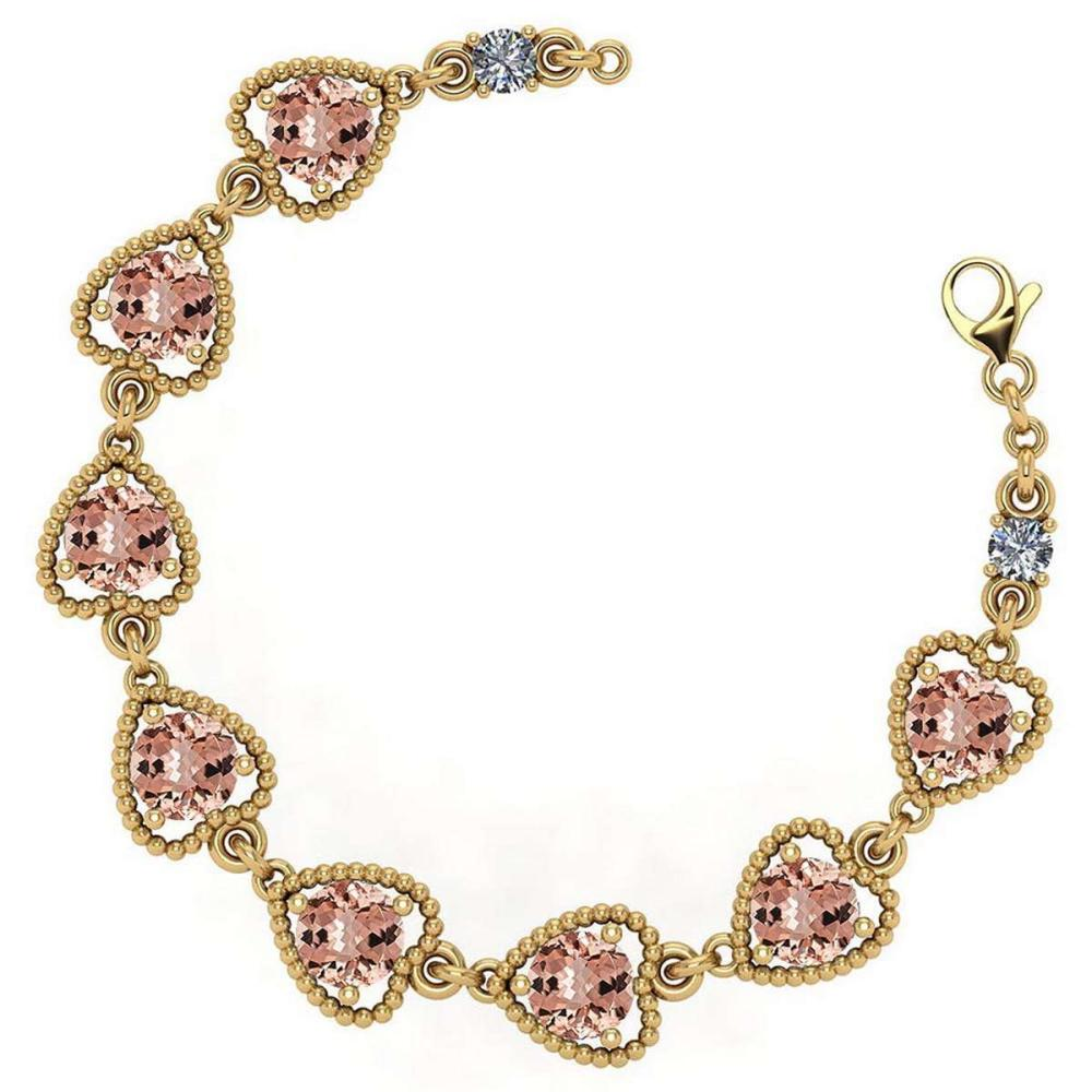 Certified 3.80 Ctw Morganite And Diamond VS/SI1 Bracelet 14K Yellow Gold Made In USA #1AC22013