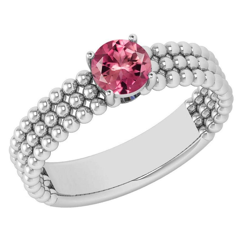 Certified 0.50 Ctw Pink Tourmaline Solitaire 14K White Gold Promises Ring Made In USA #1AC22739