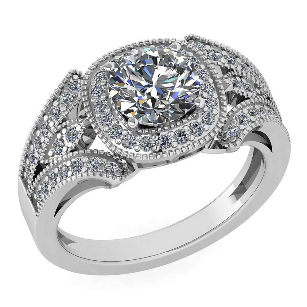 Certified 1.58 Ctw Diamond Wedding/Engagement Style 14K White Gold Halo Ring (SI2/I1) #1AC17898