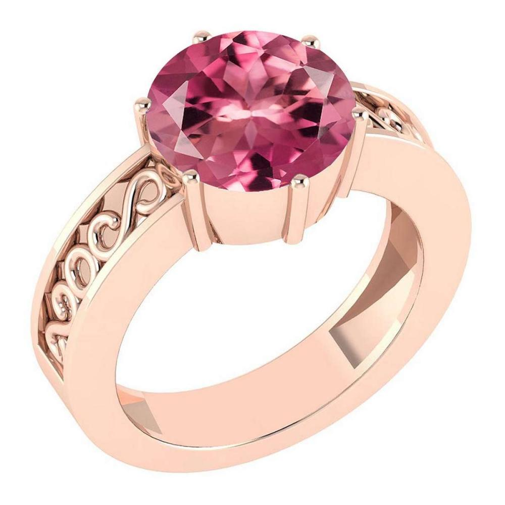 Certified 1.25 Ctw Pink Tourmaline Solitaire Ring with Filigree Style 14K Rose Gold Made In USA #1AC22564