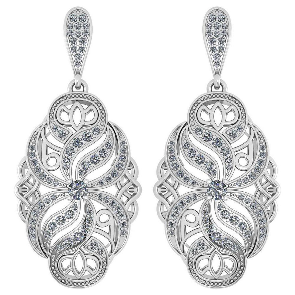 Certified 1.18 Ctw Diamond Wedding/Engagement Style 14K White Gold Halo Hanging Earrings (SI2/I1) #1AC17904
