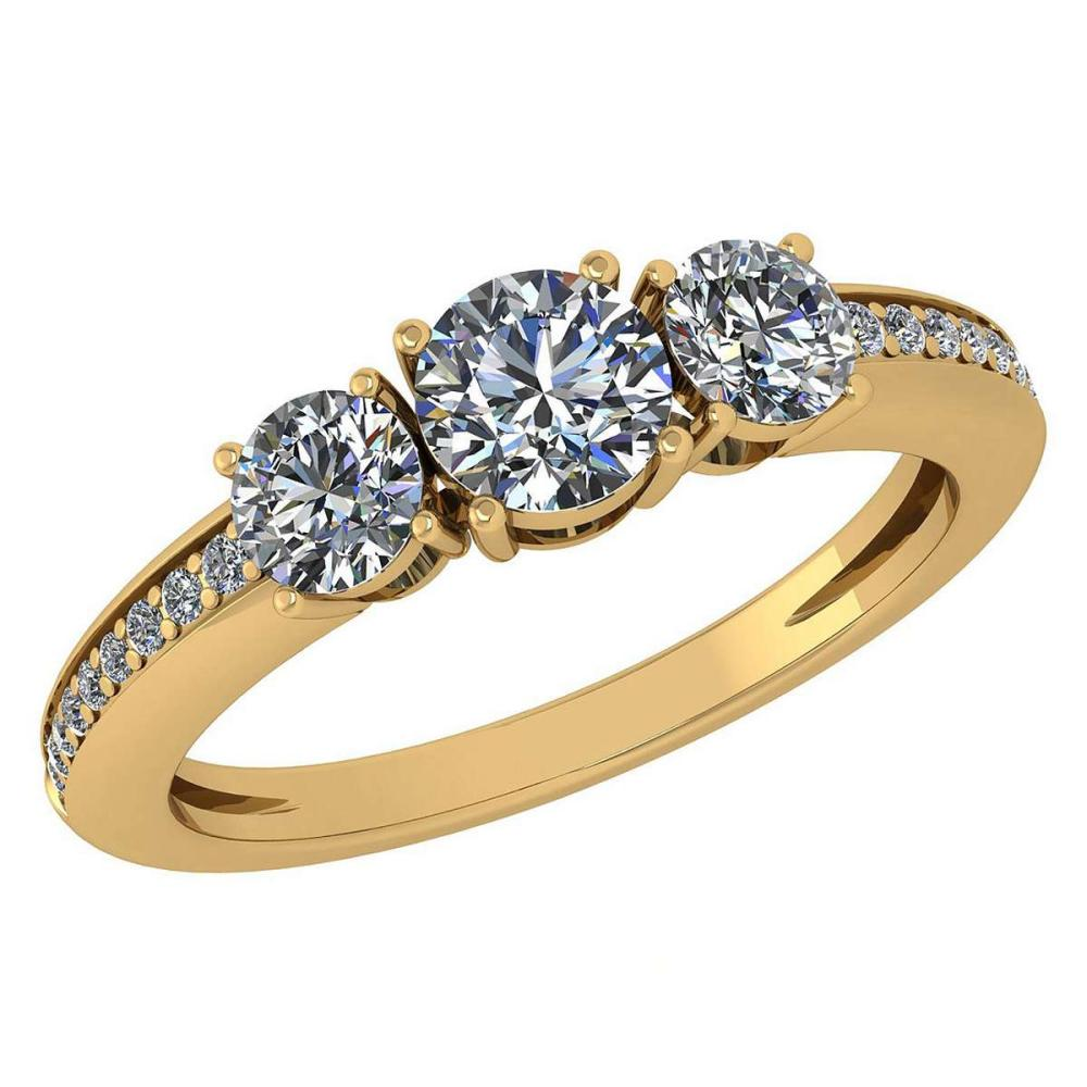 Certified 1.06 Ctw Diamond Wedding/Engagement Style 14K Yellow Gold Halo Ring (SI2/I1) #1AC17891