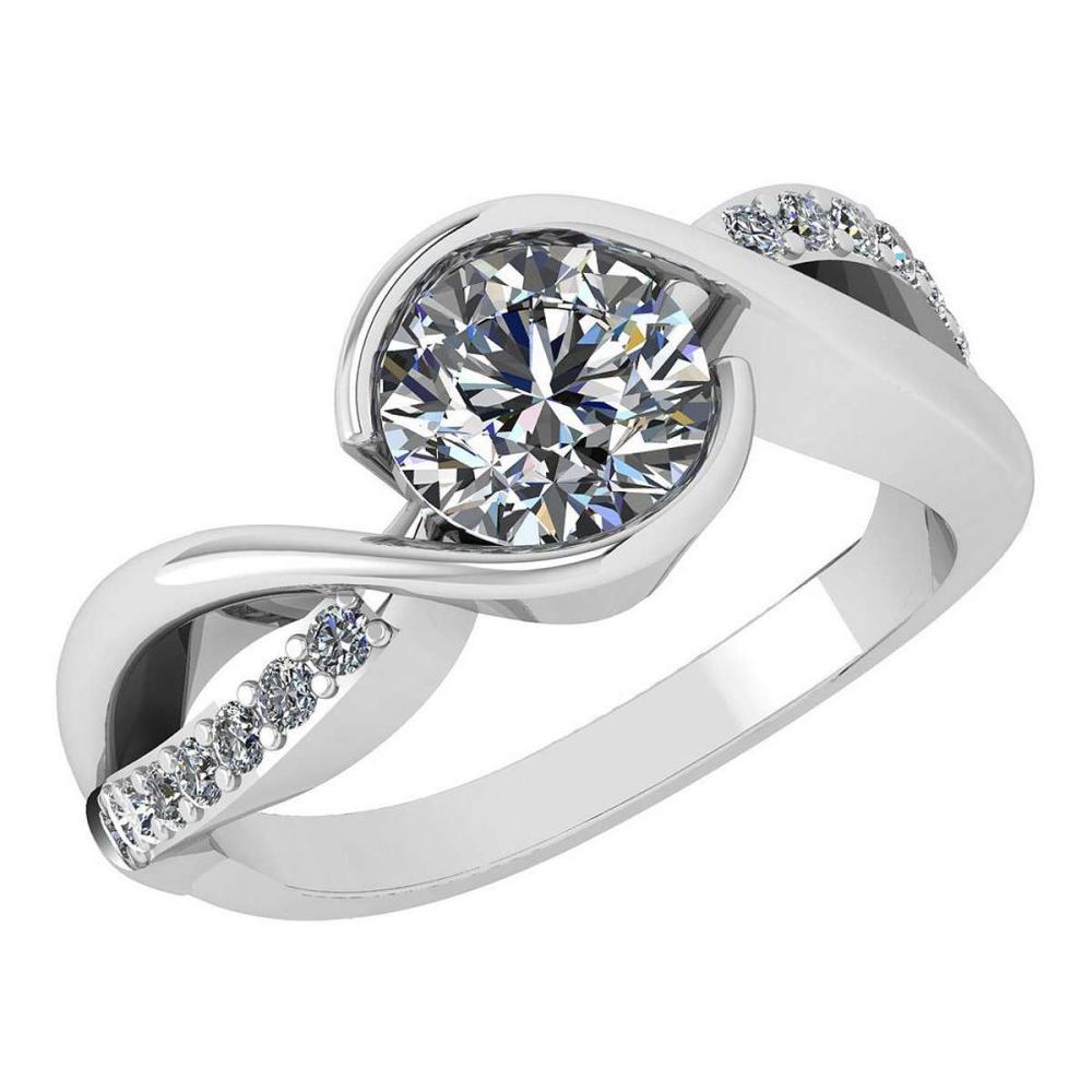 Certified 1.46 Ctw Diamond Wedding/Engagement Style 14K White Gold Halo Ring (SI2/I1) #1AC17901