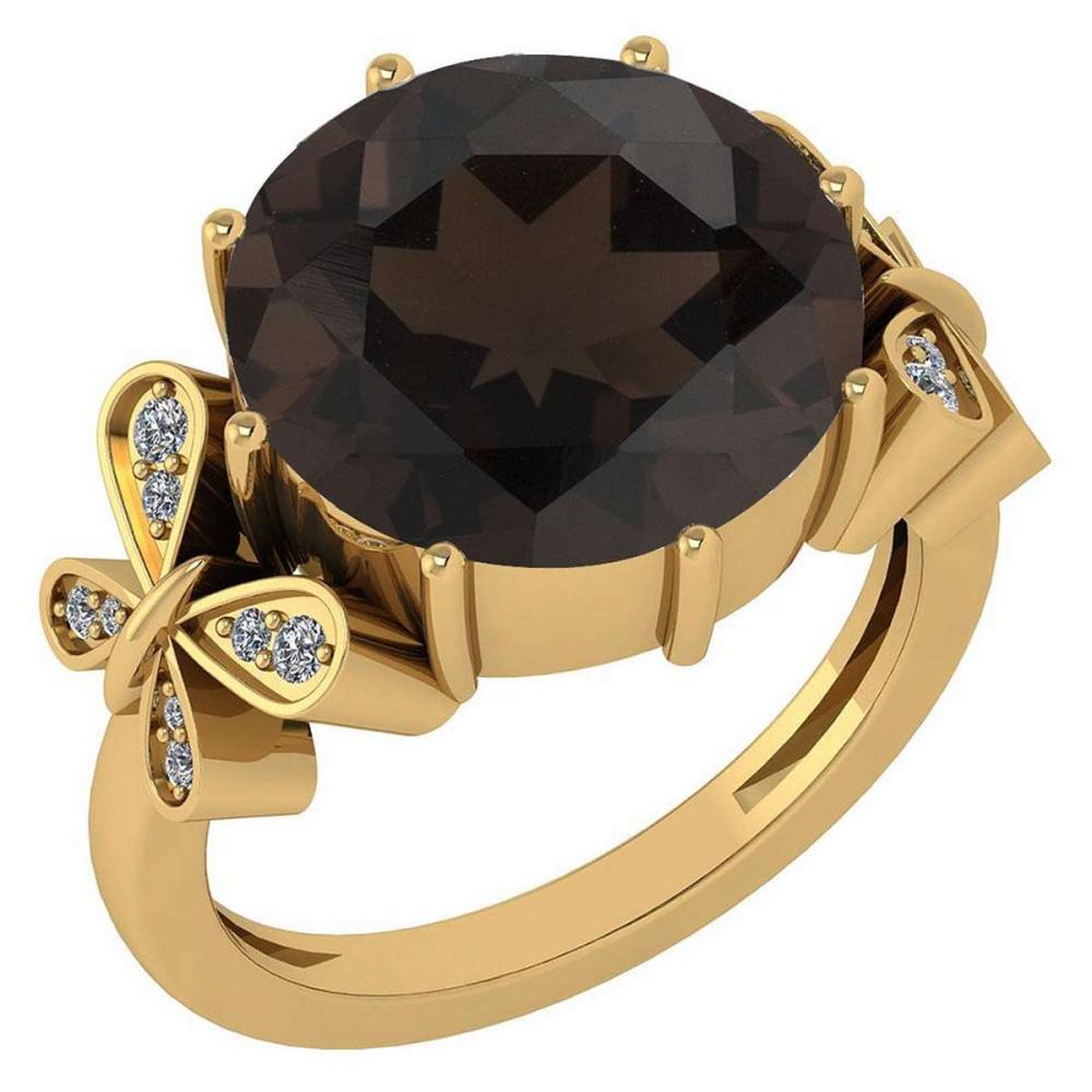 Certified 6.20 Ctw Smoky Quartz And Diamond VS/SI1 Ring 14K Yellow Gold Made In USA #1AC21961