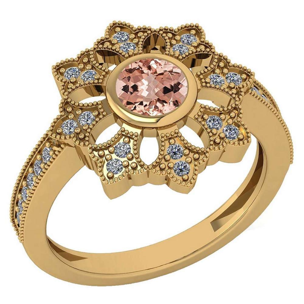 Certified 0.67 Ctw Morganite And Diamond VS/SI1 Engagement Halo Ring 14K Yellow Gold Made In USA #1AC22634
