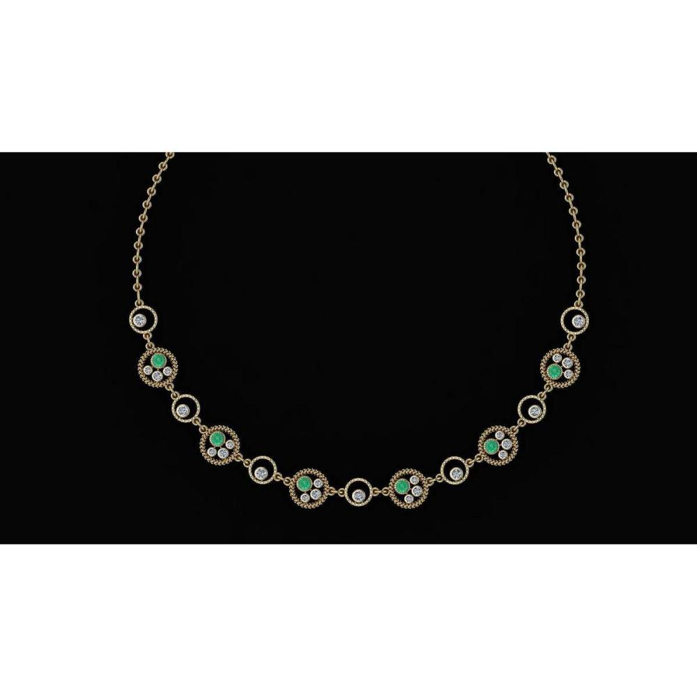 Certified 2.97 Ctw Emerald And Diamond VS/SI1 Beautiful Necklace 14K Yellow Gold Made In USA #1AC23909
