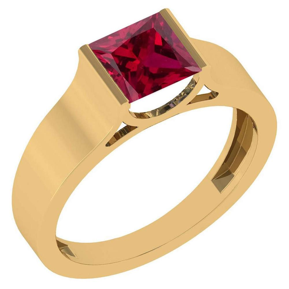 Certified 0.75 Ctw Genuine Ruby 18k Yellow Gold Ring #1AC15184