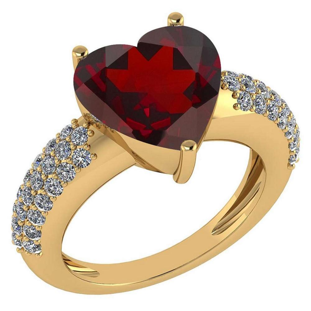 Certified 5.31 Ctw Garnet And Diamond VS/SI1 Ring 14K Yellow Gold Made In USA #1AC23727