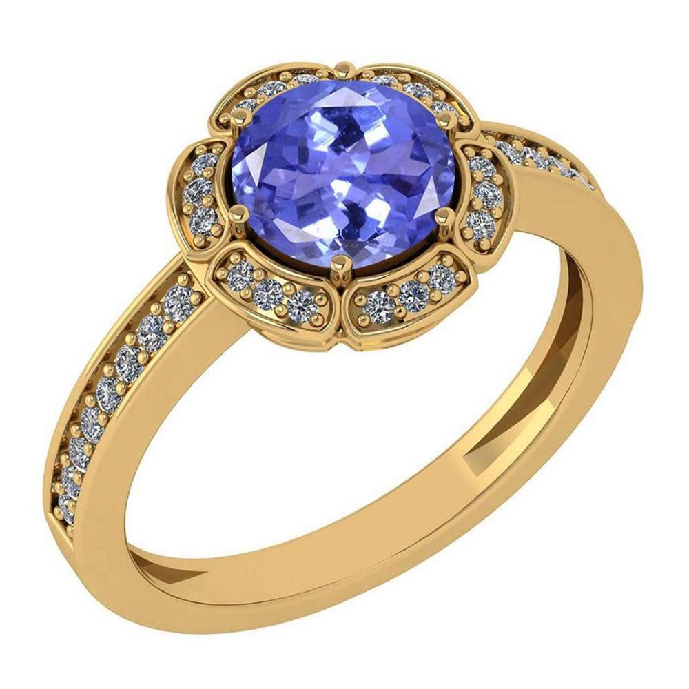 Certified 1.47 Ctw Tanzanite And Diamond VS/SI1 Engagement Halo Ring 14K Yellow Gold Made In USA #1AC22514