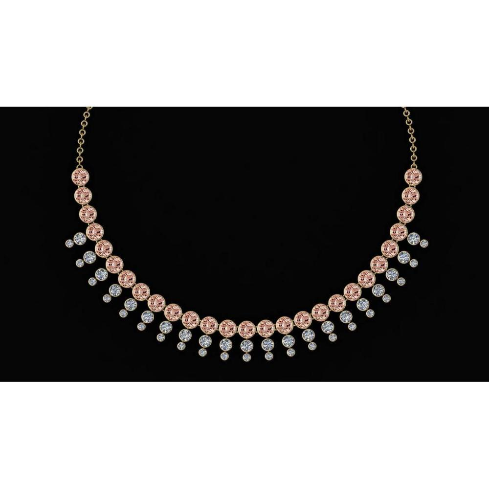 Certified 45.30 Ctw Morganite And Diamond VS/SI1 Unique Beautiful Necklace 14K Yellow Gold #1AC23769