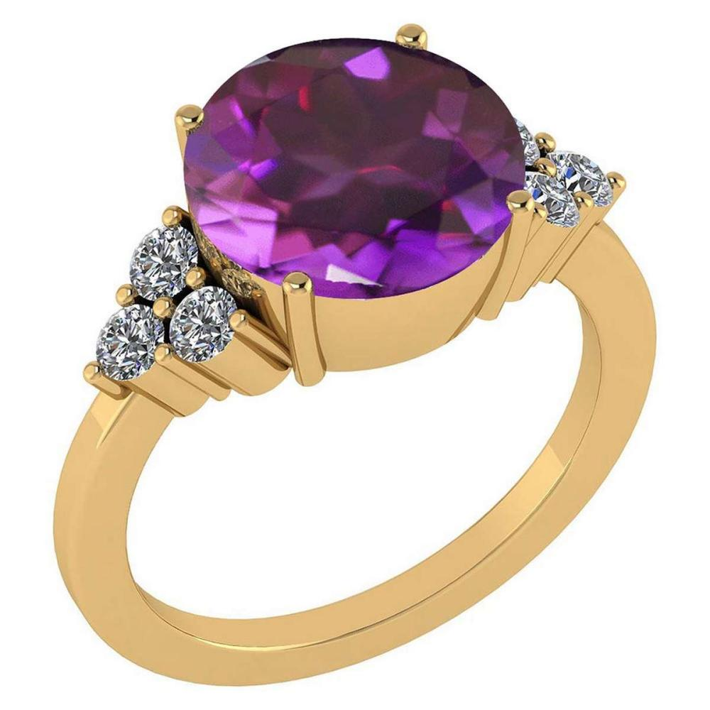 Certified 3.60 Ctw Amethyst And Diamond VS/SI1 Ring 14K Yellow Gold Made In USA #1AC21911
