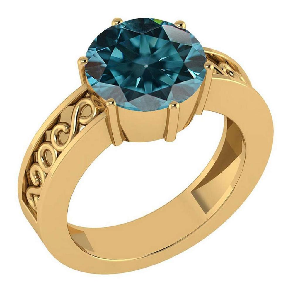 Certified 1.25 Ctw Treated Fancy Blue Diamond I1/I2 Solitaire Ring with Filigree Style 14K Yellow Gold Made In USA #1AC22781