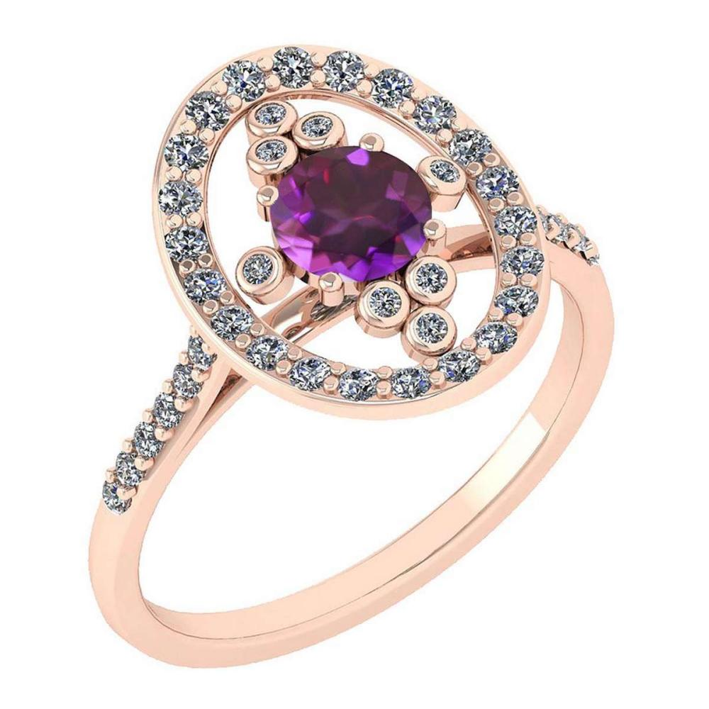 Certified 0.73 Ctw Amethyst And Diamond VS/SI1 Halo Ring 14K Rose Gold Made In USA #1AC21865