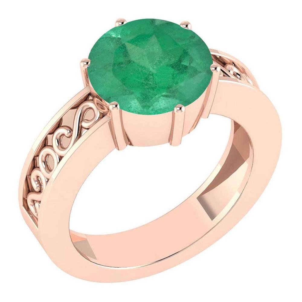 Certified 1.25 Ctw Emerald Solitaire Ring with Filigree Style 14K Rose Gold Made In USA #1AC22566