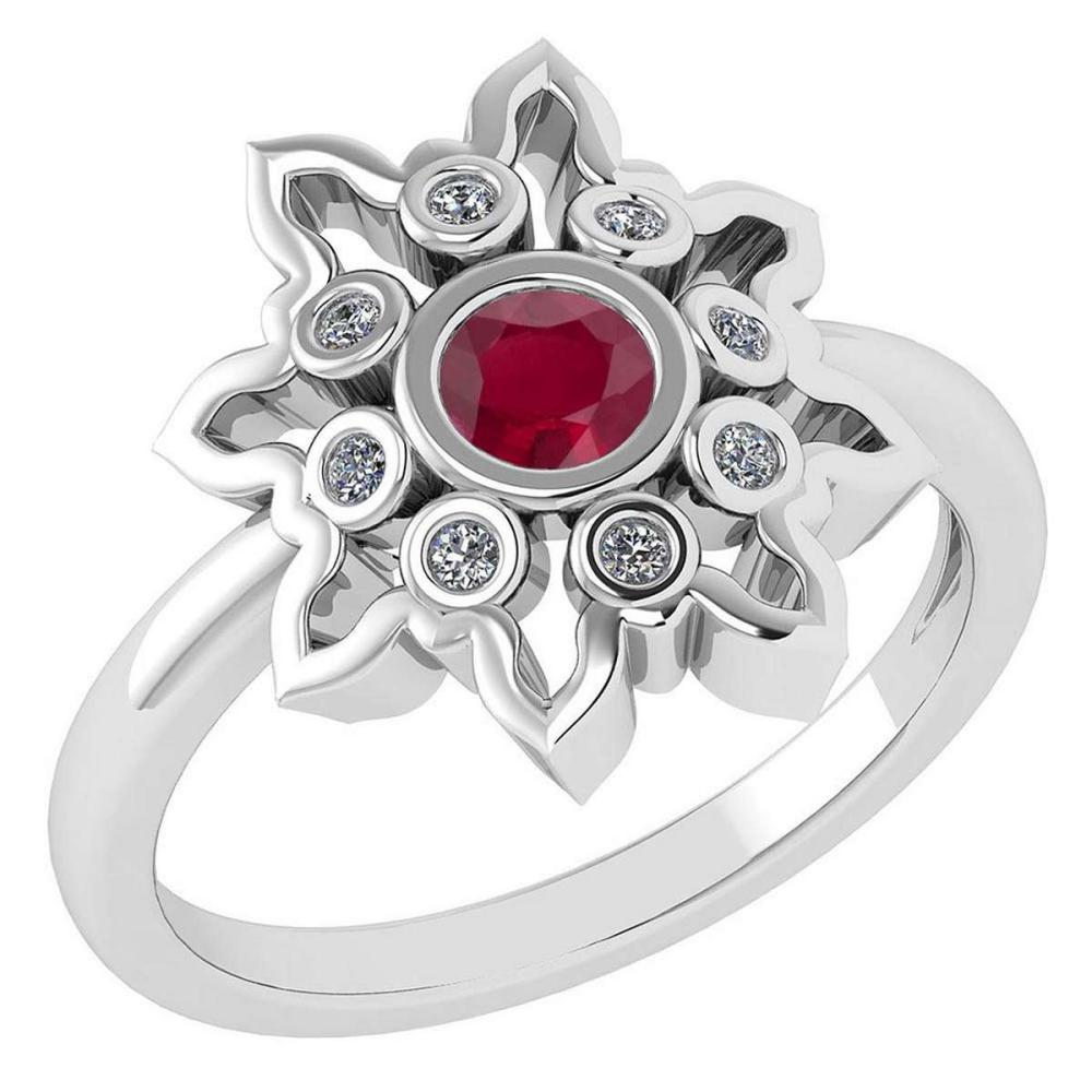 Certified 0.32 Ctw Ruby And Diamond 14k White Gold Ring #1AC12960