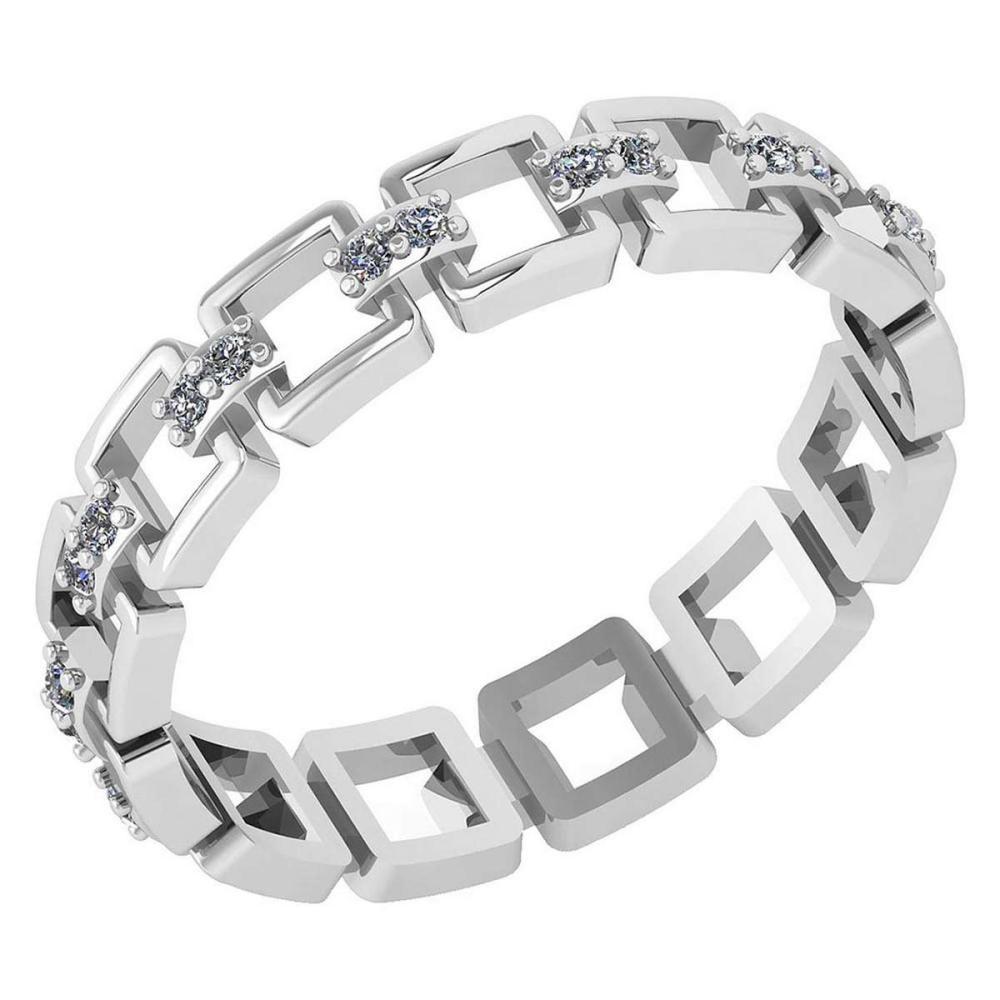 Certified 0.12 Ctw Diamond VS/SI1 Filigree Band 18K White Gold #1AC23608